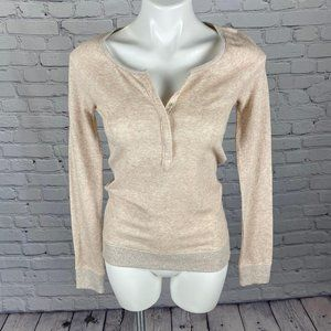 AE Light Pink/Peach LS Henley with Shimmer…